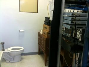 Data center located in bathroom