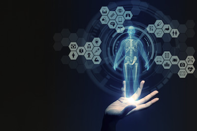 human hand and medical technology, 3D rendering