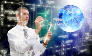 Businessman looking at futuristic technology
